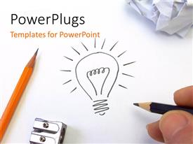 PowerPlugs: PowerPoint template with hand drawing light bulb on white surface with pencil and sharpener