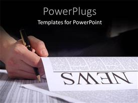 PowerPlugs: PowerPoint template with hand drawing on newspaper page top headline with black color