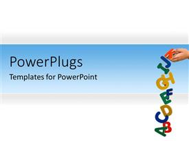 PowerPlugs: PowerPoint template with hand dropping colored letters on blue and white surface