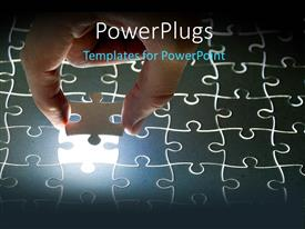 PowerPlugs: PowerPoint template with hand fitting missing puzzle piece in jigsaw puzzle