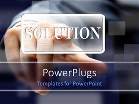 PowerPlugs: PowerPoint template with man hand presses SOLUTION button over blurry background