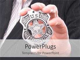 PowerPlugs: PowerPoint template with hand gripping US Marshall badge, business suit background