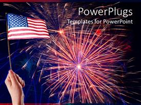 PowerPlugs: PowerPoint template with hand holding American flag with Independence Day fireworks