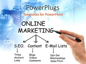 PowerPlugs: PowerPoint template with hand holding black marker next to Online Marketing mind map