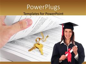 PowerPlugs: PowerPoint template with hand holding book reveals gold key in middle with female graduant