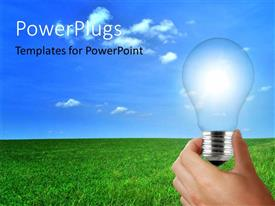 PowerPlugs: PowerPoint template with a hand holding the bulb with clouds in the background