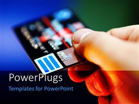 PowerPlugs: PowerPoint template with hand holding credit card on blue and green background