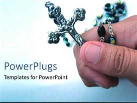 PowerPlugs: PowerPoint template with hand holding crucifix on white and blue background
