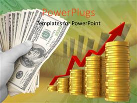 PowerPlugs: PowerPoint template with hand holding dollars with growing bar chart and golden coins
