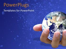 PowerPlugs: PowerPoint template with earth globe in human hand over blue background