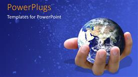 PowerPoint template displaying earth globe in human hand over blue background