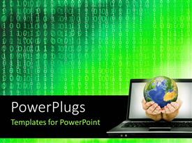 PowerPlugs: PowerPoint template with hand holding globe emerging from laptop with binary numbers in background