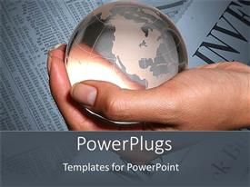 PowerPlugs: PowerPoint template with a hand holding the globe with financial news in the background