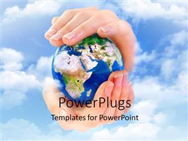 PowerPlugs: PowerPoint template with hand holding globe over blue cloudy sky