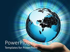 PowerPlugs: PowerPoint template with hand holding globe radiating blue light