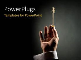PowerPlugs: PowerPoint template with hand holding gold key up over black surface with light glow