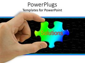 PowerPlugs: PowerPoint template with hand holding green and blue jigsaw puzzle piece with the word Solutions