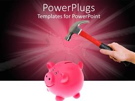 PowerPoint template displaying a hand holding a hammer over a pink piggy bank
