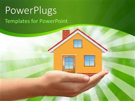 PowerPlugs: PowerPoint template with hand holding house in palm over green themed background