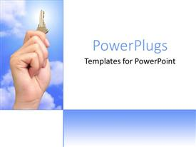 PowerPlugs: PowerPoint template with hand holding key against blue sky, clouds, sunshine