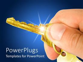 PowerPlugs: PowerPoint template with a hand holding a key with blue background