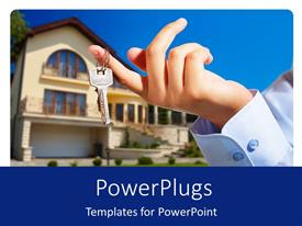 PowerPlugs: PowerPoint template with a hand holding the keys with house in the background