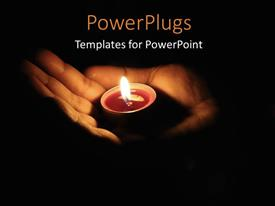 PowerPlugs: PowerPoint template with a hand holding a little candle on a black background