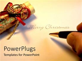 PowerPlugs: PowerPoint template with hand holding pen writing Merry Christmas
