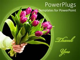 PowerPlugs: PowerPoint template with hand holding pink tulip bouquet, Thank you