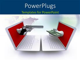 PowerPoint template displaying hand holding pistol out of screen aims at hand holding money