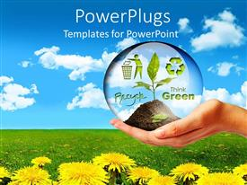 PowerPlugs: PowerPoint template with a hand holding a plant with flowers in the background