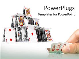 PowerPoint template displaying hand holding playing cards with card house constructed on white background