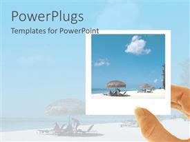 PowerPlugs: PowerPoint template with hand holding Polaroid of beach vacation