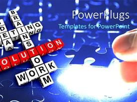 PowerPlugs: PowerPoint template with a number of words with puzzle pieces in the background