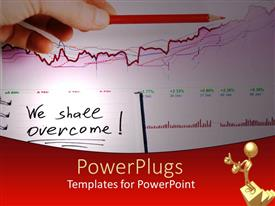 PowerPoint template displaying a hand holding a red pencil on a graph