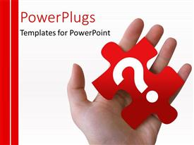 PowerPlugs: PowerPoint template with hand holding a red puzzle piece with a question mark on it with strips