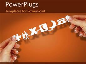 PowerPlugs: PowerPoint template with hAnd holding social media related icons on orange background