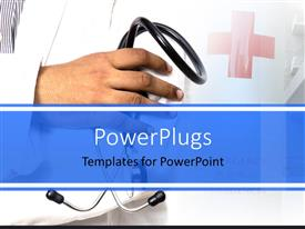 PowerPlugs: PowerPoint template with a hand holding a stethoscope with a first aid symbol beside it