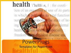 PowerPlugs: PowerPoint template with hand holding stethoscope, health definition, medicine, check-up, doctor, nurse, medical