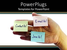 PowerPoint template displaying hand holding sticky notes with contact, email, join us