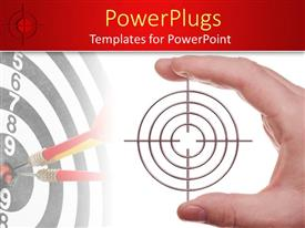 PowerPoint template displaying hand holding target, dart board background, red border