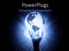 PowerPlugs: PowerPoint template with hand holding up glowing earth globe with binary numbers surrounding it