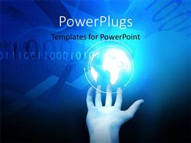 PowerPlugs: PowerPoint template with a hand holding up a shinning bright blue globe