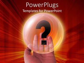 PowerPlugs: PowerPoint template with a hand holding up a shinning bubble with a question mark