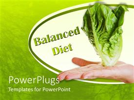 PowerPlugs: PowerPoint template with hand holding white lettuce and green words balanced diet on white and green background symbolizing balanced and healthy diet