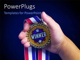 PowerPlugs: PowerPoint template with hand holding winners medal with multicolored ribbon on blue background