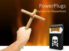 PowerPoint template displaying a hand holding a wooden cross to a match box with a skull