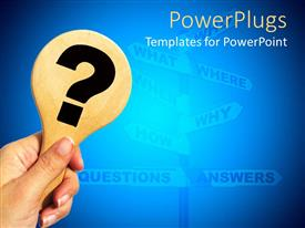 PowerPlugs: PowerPoint template with hand holding wooden question mark sign