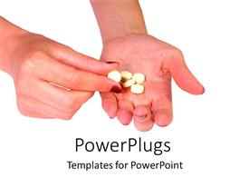 PowerPoint template displaying hand holding yellow pills on white background