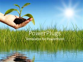 PowerPlugs: PowerPoint template with hand holding young plant over water with grass and sunny blue sky background